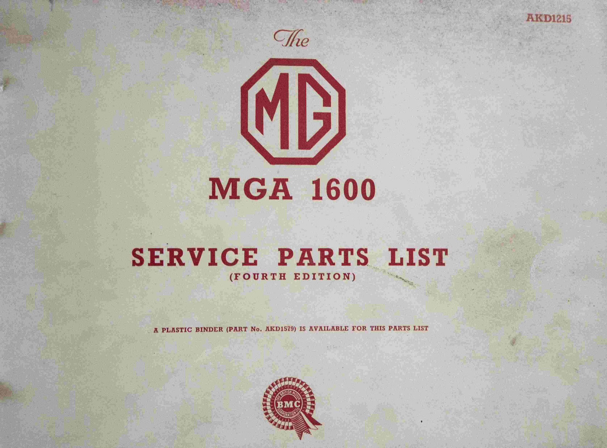 MGA 1600 Service Parts List